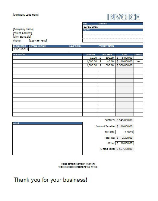 excel invoice format Ecza.solinf.co