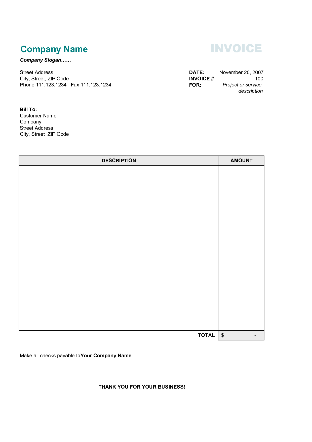 Free Simple Basic Invoice Template | Excel | PDF | Word (.doc)
