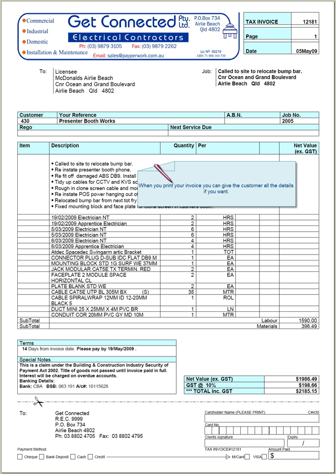 electrical contractor invoice template electrical invoice template