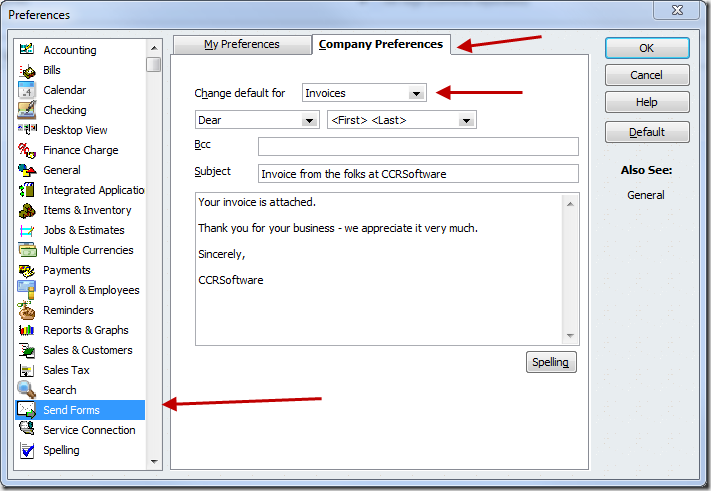 Inserting the Invoice Number in a QuickBooks email Practical