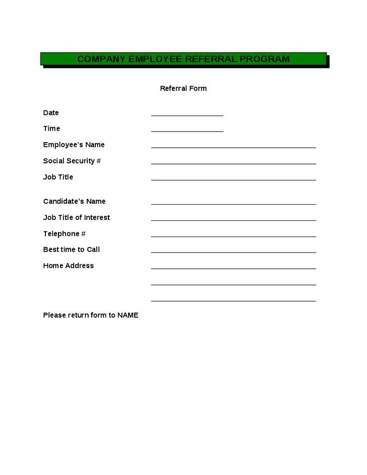 employee referral form template word employee referral form