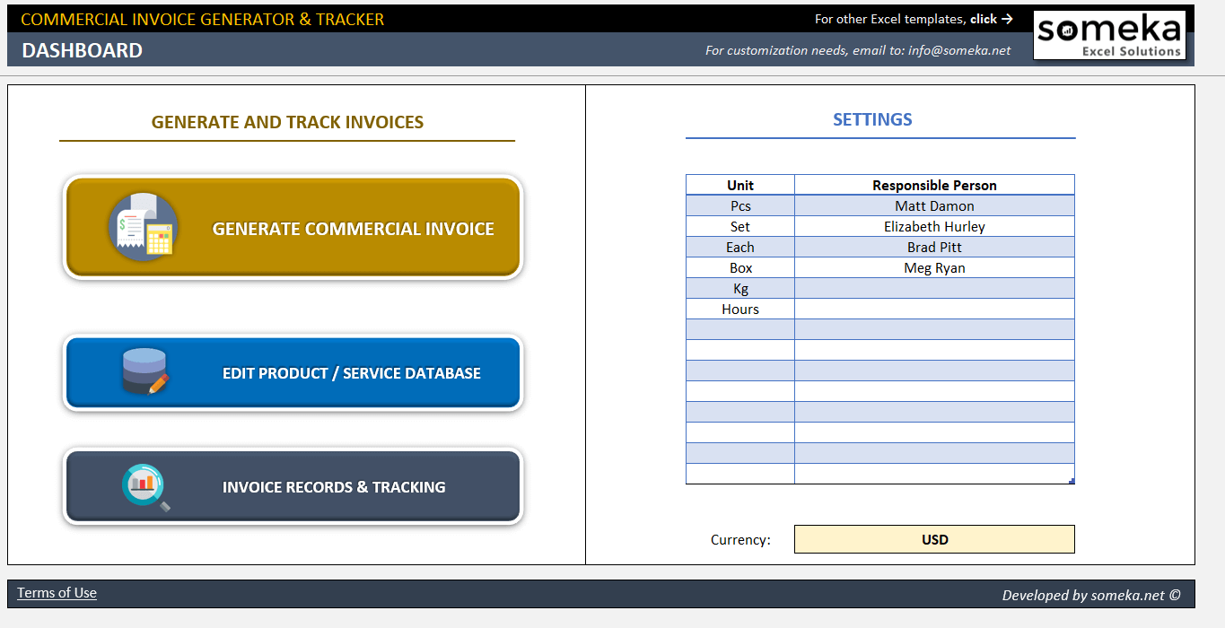 Commercial Invoice Template Excel Invoice Generator & Tracker Tool