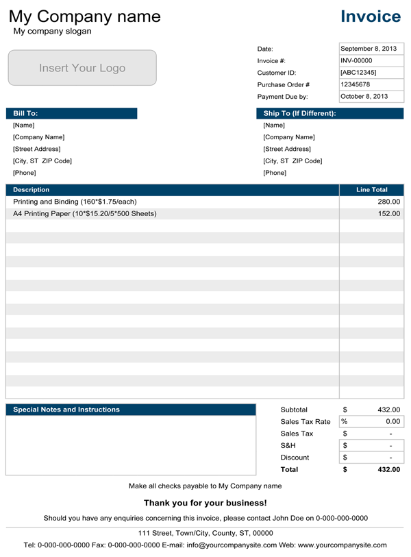 Simple Invoice Template for Excel