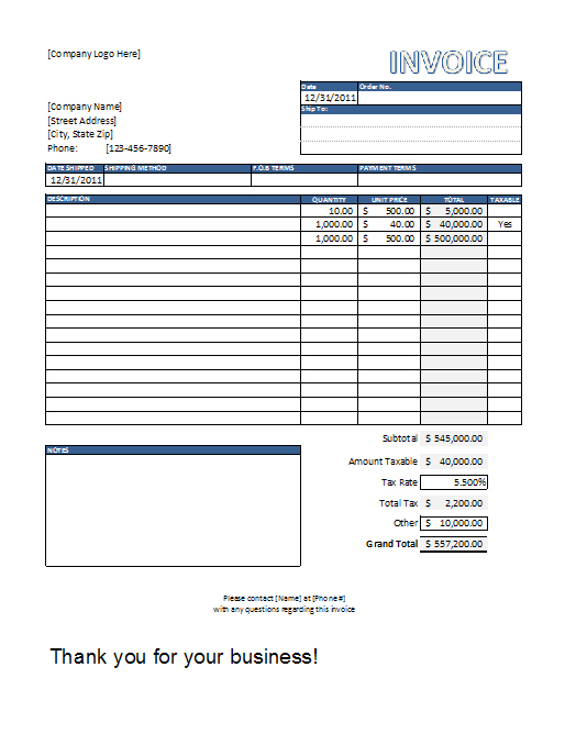 invoice templates excel free download Ecza.solinf.co
