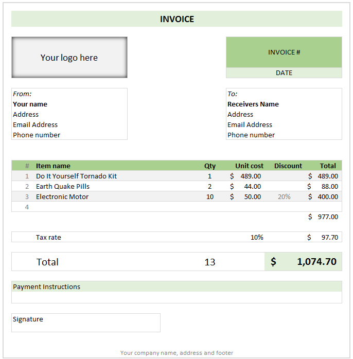 excel spreadsheet invoice template create excel invoice template