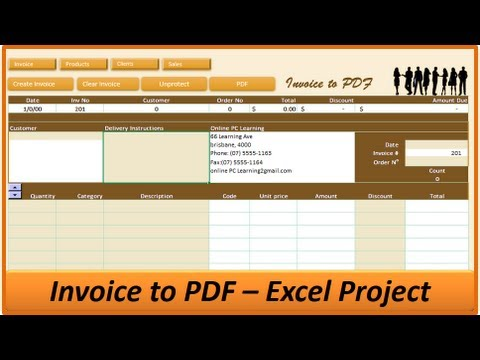 Excel Invoice to PDF Excel Invoice Creator Excel VBA Project