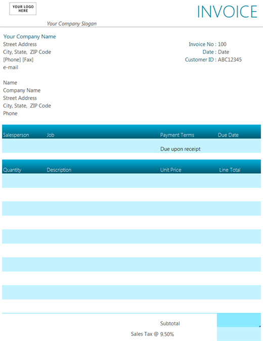 free excell invoice template Ecza.solinf.co