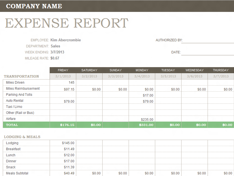office expenses template Ecza.solinf.co