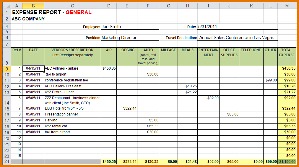 expense report xls Ecza.solinf.co