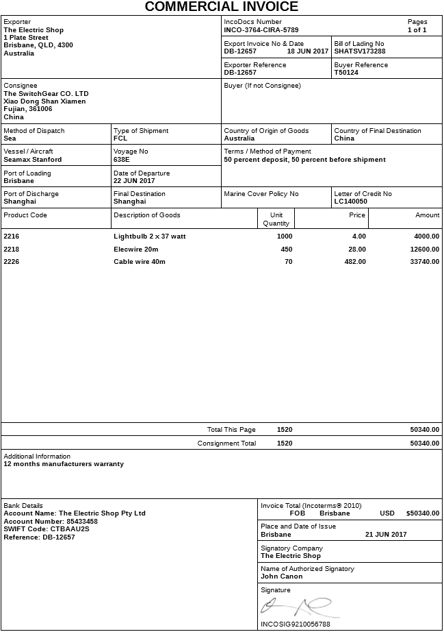 Export Commercial Invoice Template Zugos Design Commercial Invoice