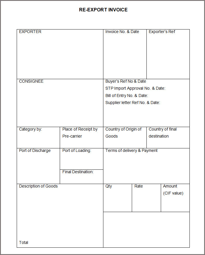 export invoice template invoice format template 30 free word pdf