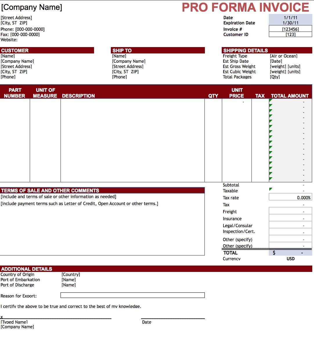 Export Invoice Format|Export Invoice Sample & Template for Online