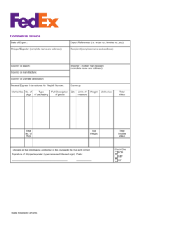 fedex commercial invoice pdf fedex international commercial invoice template