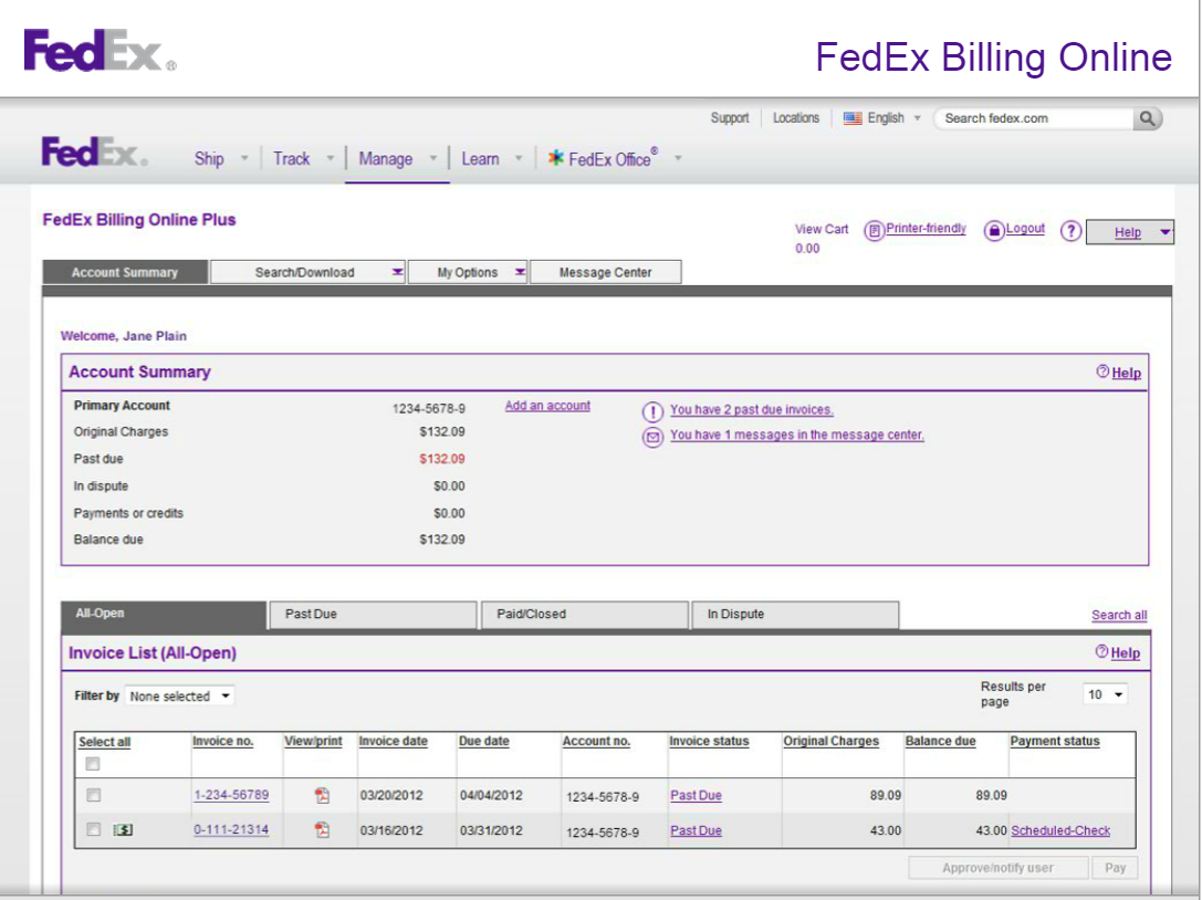 FedEx Invoice Management | Financial Services Office | The