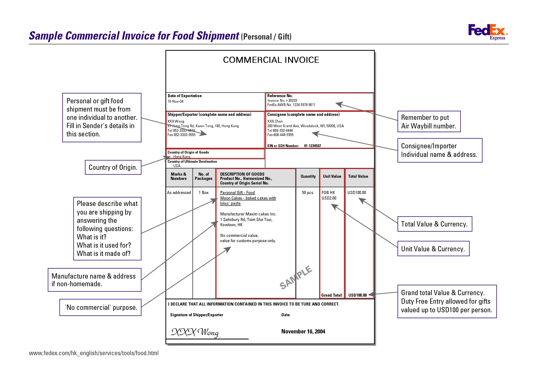 Commercial invoice example 9 fedex template form facile meanwhile