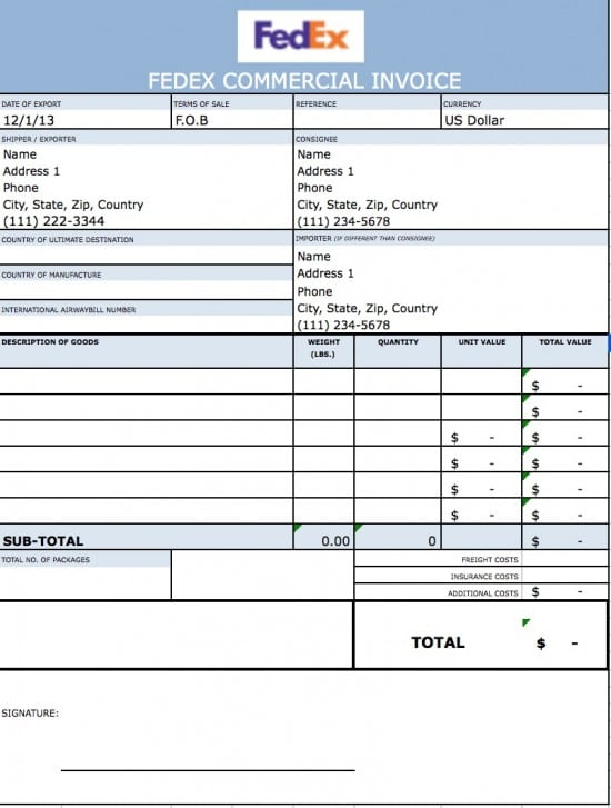 Free Fedex Commercial Invoice Template Excel Pdf Word Doc Fedex