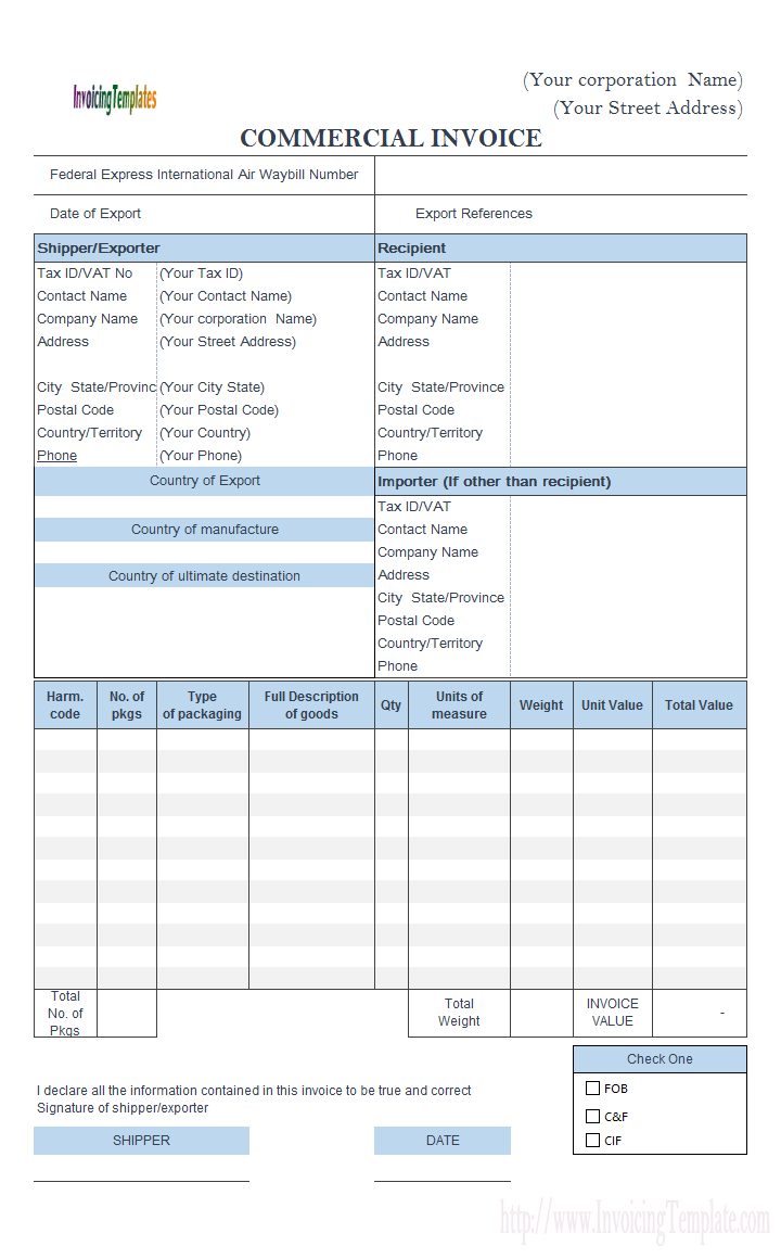Commercial Invoice FedEx Style