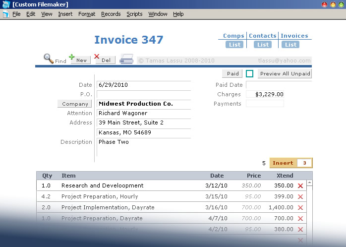 Custom Filemaker Invoice Solution, Manhattan Database Consultant