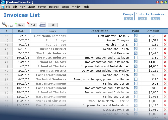 Quickbooks List Of Invoices Custom Filemaker Invoice Database New