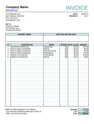 Work Invoice Template Pdf Invoice Template Pdf Fillable Work