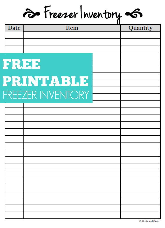 Free Printable Freezer Inventory Sheet | Pinterest | Freezer, Free