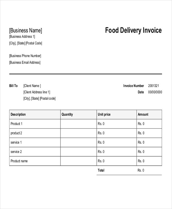 Delivery Invoice Templates 4+ Free Word, PDF, Format Download