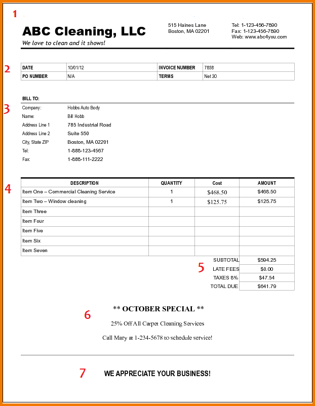 food invoice food invoice template cleaning business invoice