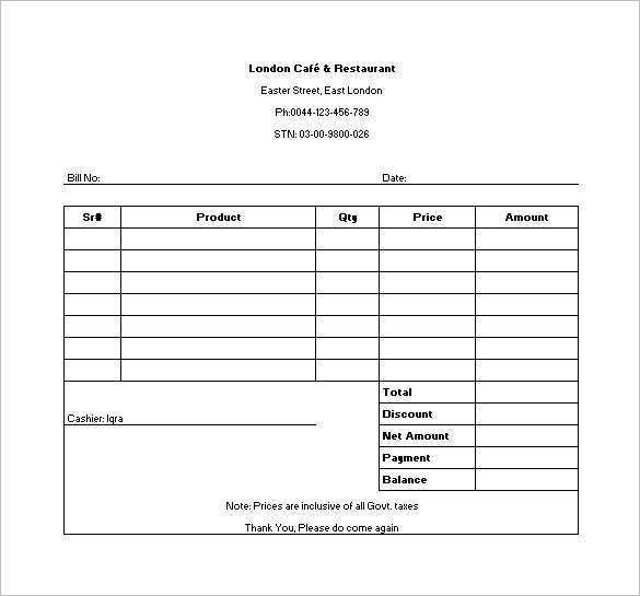 food invoice template sample restaurant receipt template in