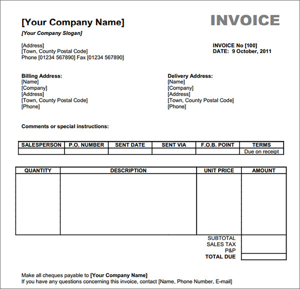 Example Of Invoice Form Ricdesign Sample Of Invoice Form Serjiom
