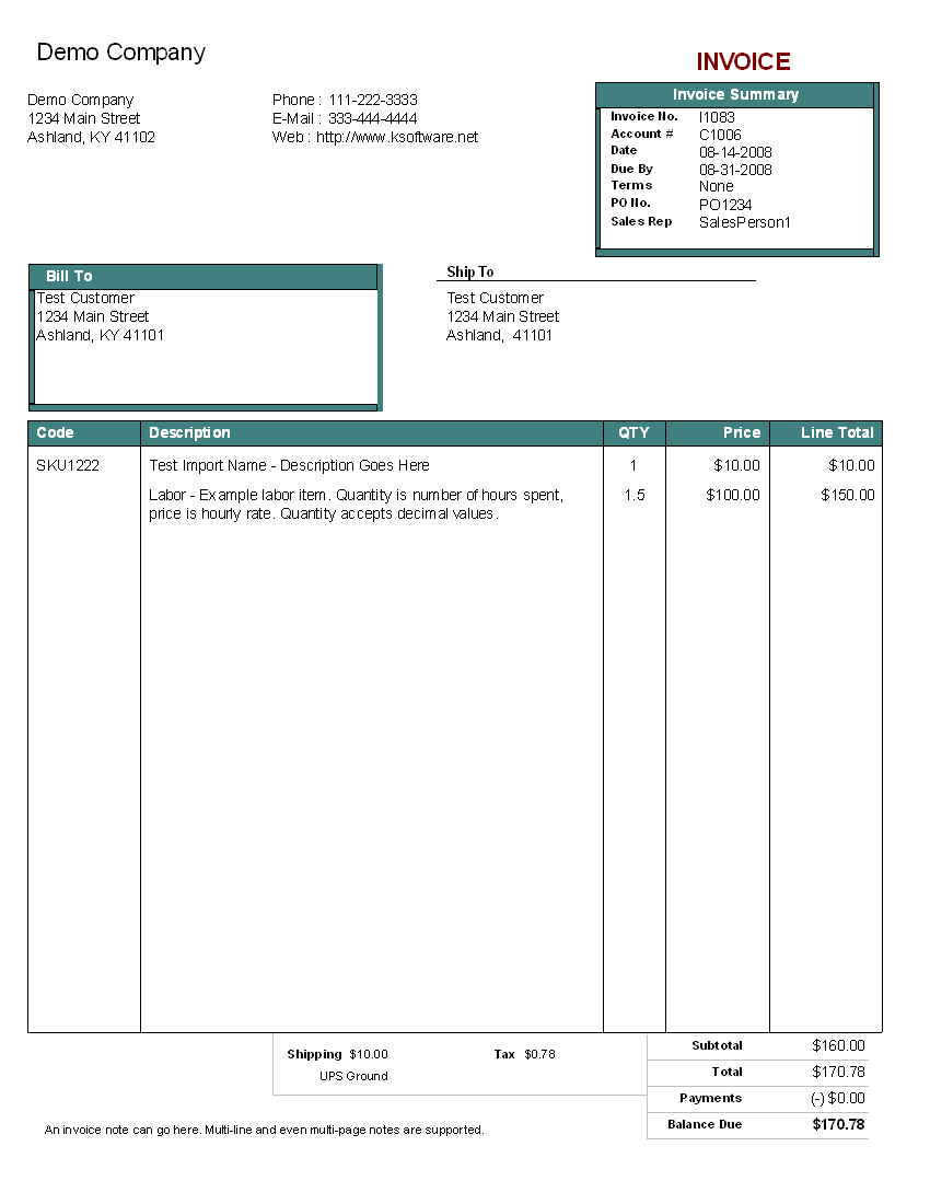 Example Of An Invoice Template 0 – invest wight