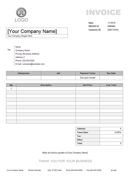 Example Of An Invoice Example Of Invoice Template Invoice Template