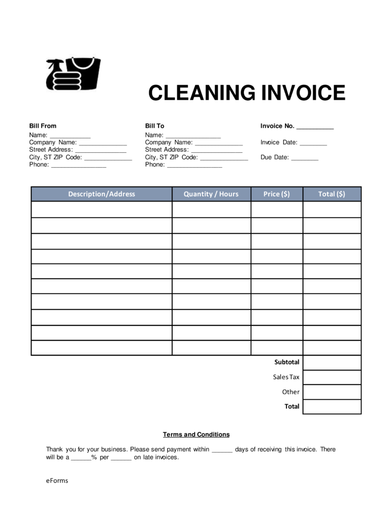 Free Cleaning (Housekeeping) Invoice Template   Word | PDF