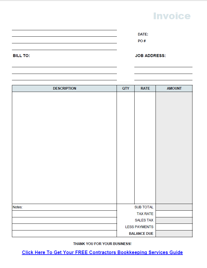 Construction Invoice Template Pdf Free Contractor Invoice Template