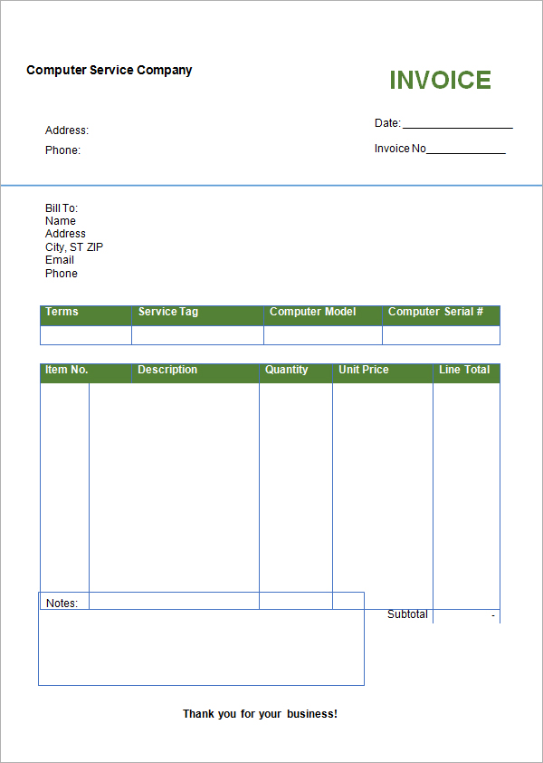 Free Download Invoice Template Microsoft Word Apcc2017
