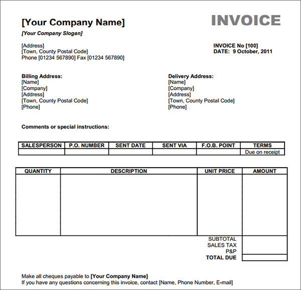 free sample invoice template excel free download invoice template