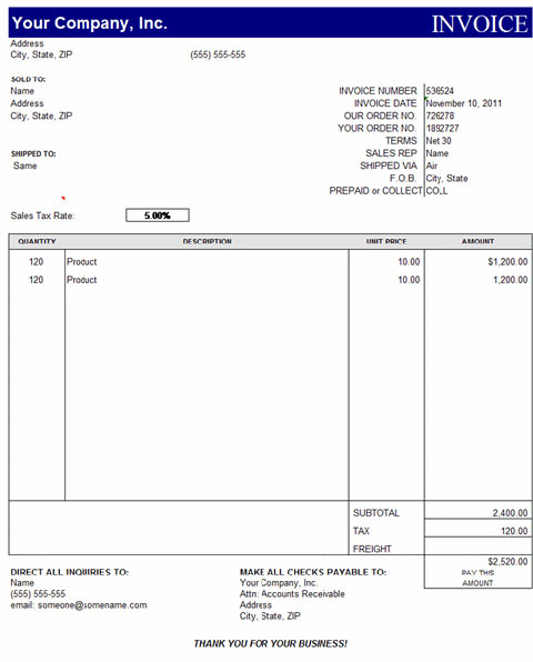 Free Excel Invoice Template Download Apcc2017