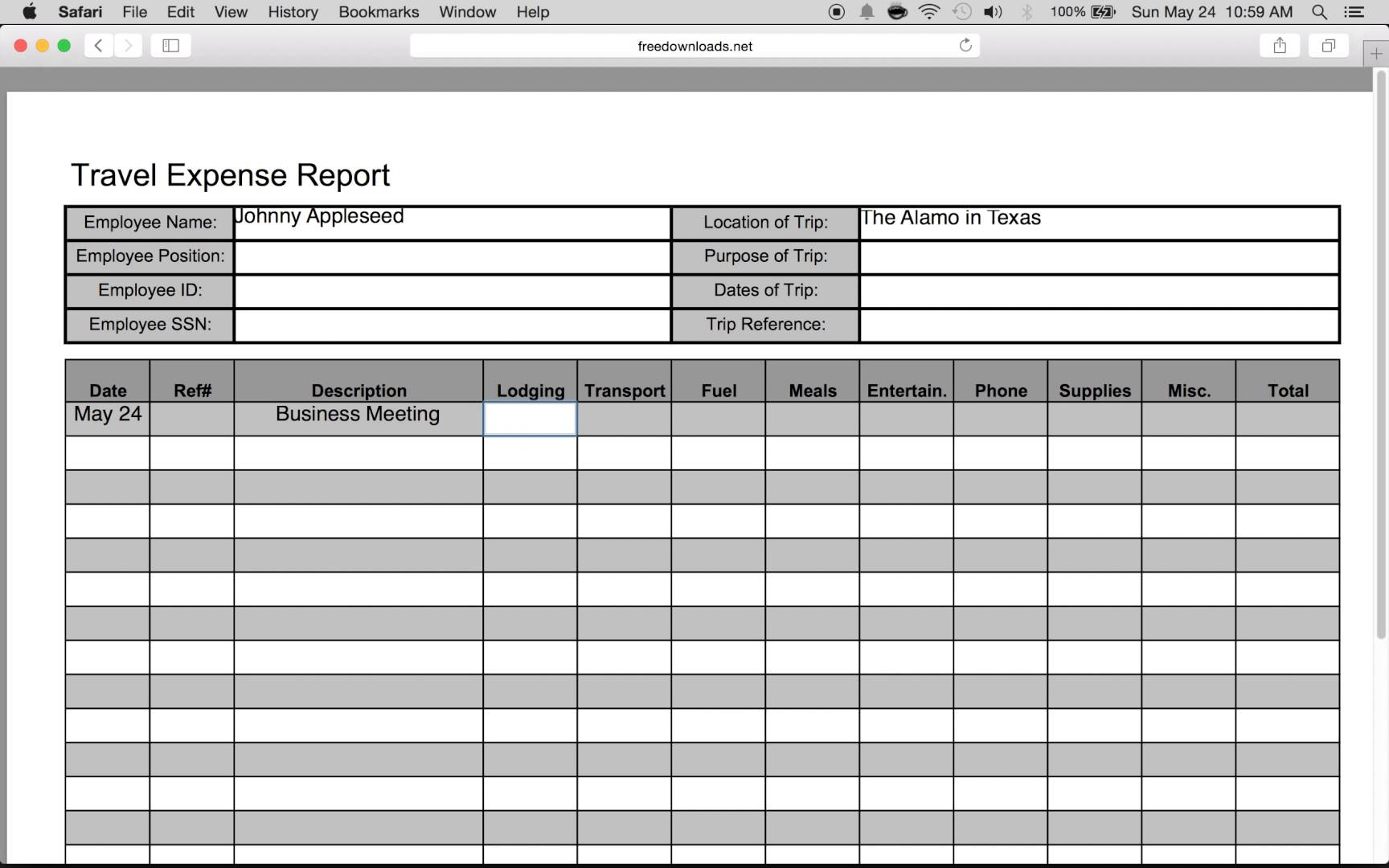 Free Simple Expense Report from Formville