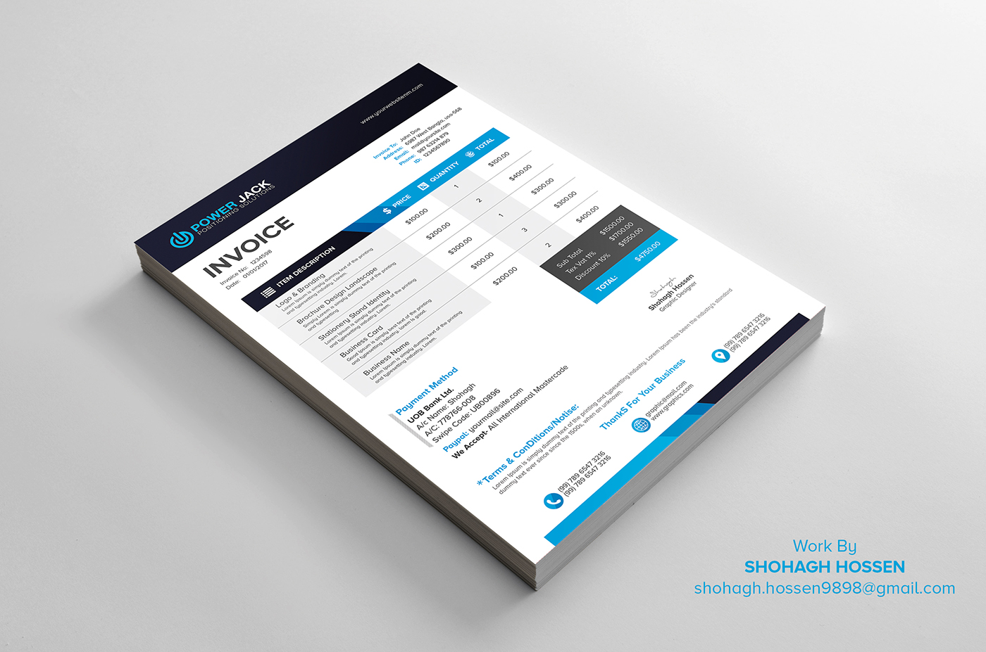 2 Invoice Design Free Download on Behance
