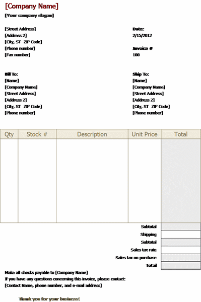 examples of invoices templates stock sales invoice template free
