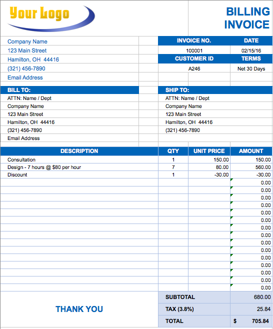 Sample Invoice Excel Template Create Invoice Template Denryoku