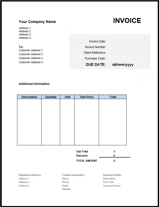 Free Invoice Template UK: Use Online or Download Excel & Word