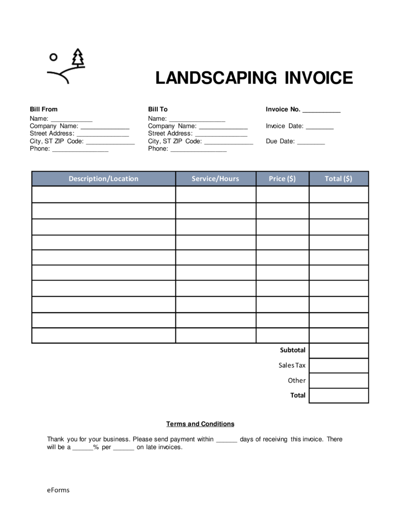 Free Landscaping Invoice Template Word | PDF | eForms – Free