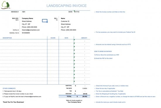 landscaping invoice template free Acur.lunamedia.co