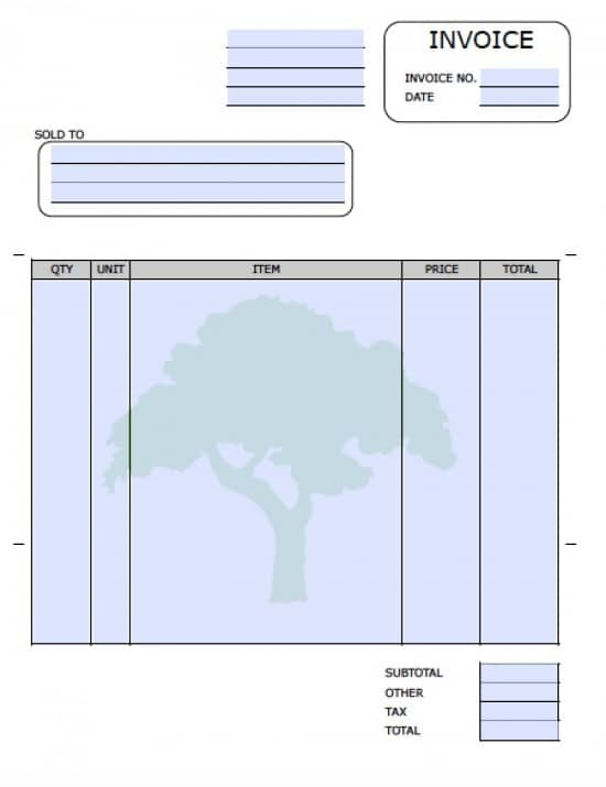 Free Landscaping (Lawn Care Service) Invoice Template | Excel