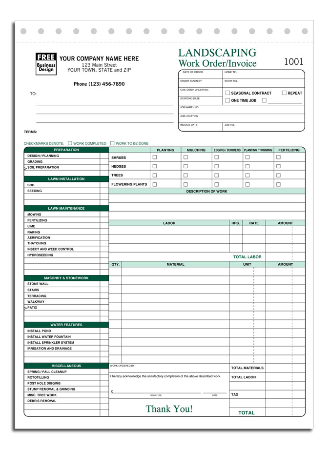 Free Lawn Care Invoice Template Free Business Template Free Free