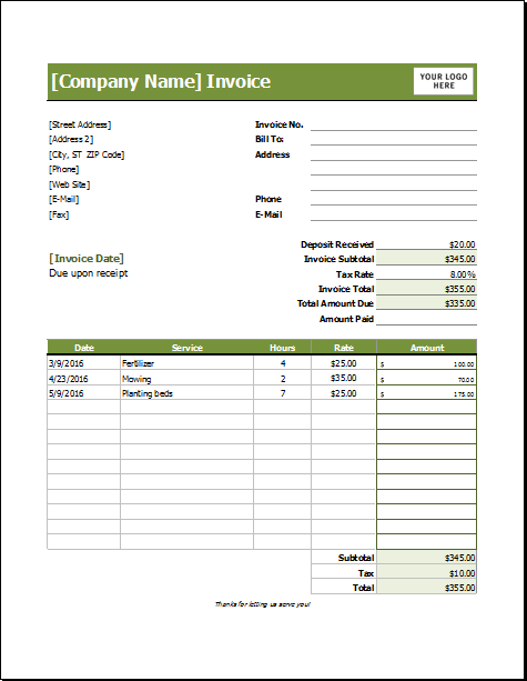 lawn care invoice template word Acur.lunamedia.co