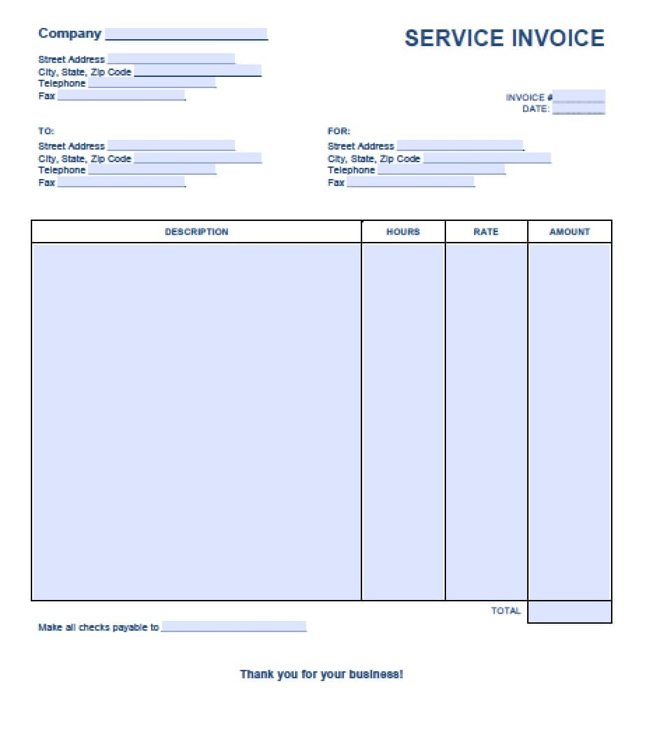 Free Service Invoice Template | Excel | PDF | Word (.doc)