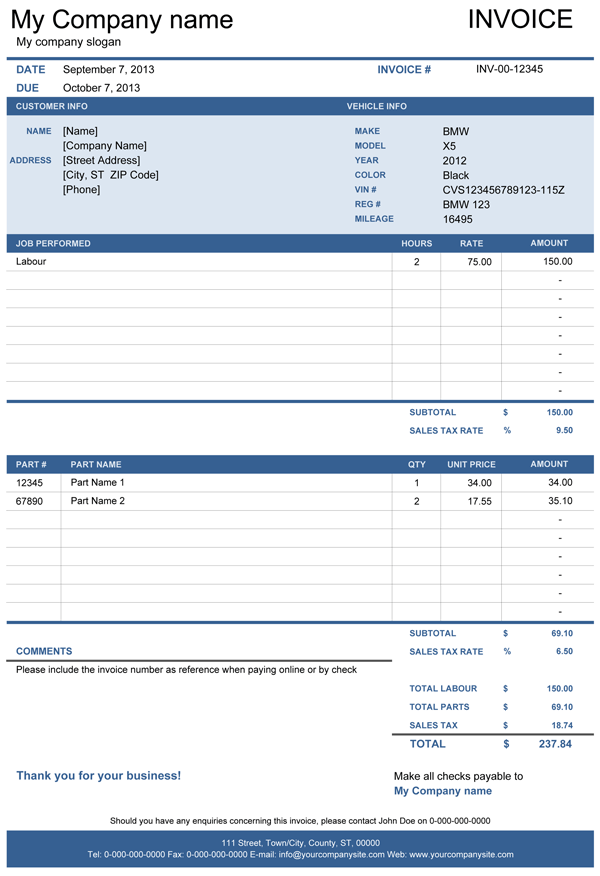 Vehicle Repair Invoice | Free Template for Excel