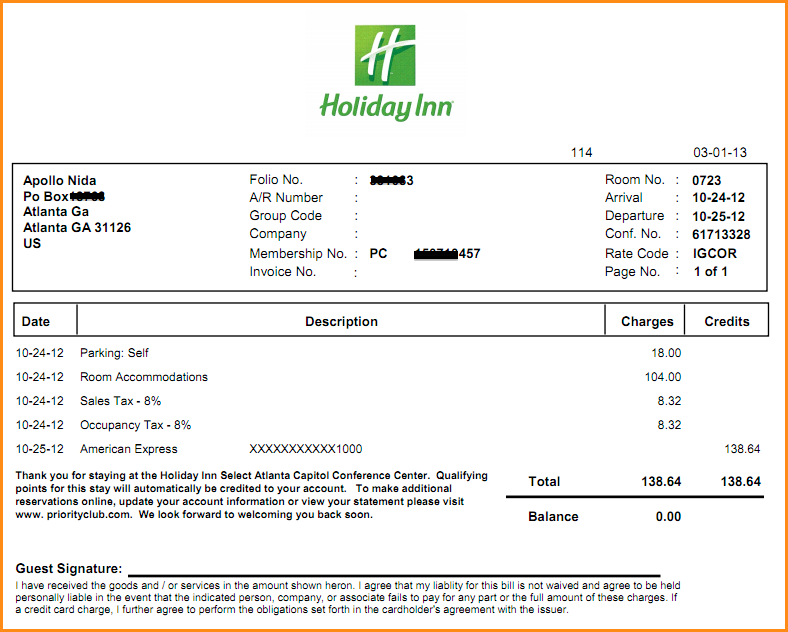 8+ holiday inn receipt | Bussines Proposal 2017