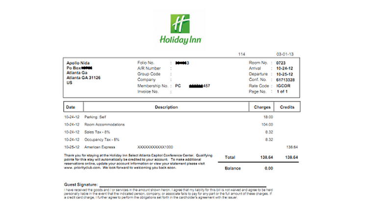 Why does this invoice for the Holiday Inn, York come to more than
